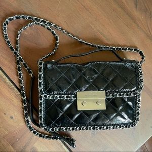 Michael Kors black patent leather silver accent